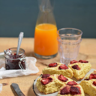 Scones with Baked Strawberries.