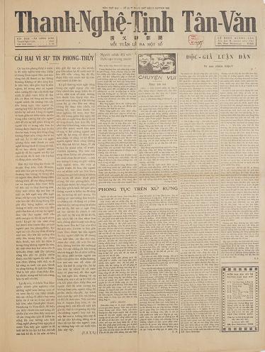 Thanh Nghệ Tĩnh Tân Văn 1931-025 - Cái Hại Vì Sự Tin Phong Thủy