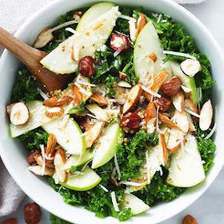 Almond Kale Salad with Apple Cider Vinegar Dressing.