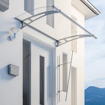 Élément latéral pour auvent de porte LT-Line, 167 x 62 cm, verre acrylique transparent, fixations en inox V2A