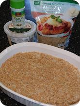 Photo: 1. Mix Italian Seasoned Bread Crumbs, Garlic Salt, and Parmesan Cheese together into a shallow dish.