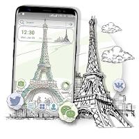 Sketch Eiffel Tower Launcher Theme