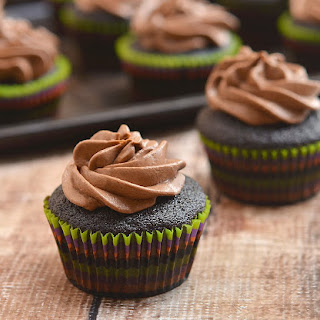 Super Moist Chocolate Cupcakes with Mocha Buttercream Frosting.