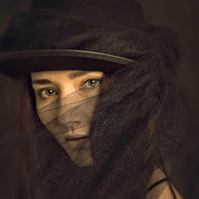 BLACK AND BROWN by Alan Payne - People Portraits of Women ( model, warm, vintage, faded, brown, net, hat, eyes )