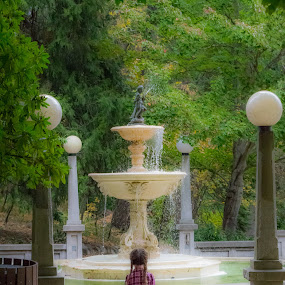 Christy and the Fountain by Scott Morgan - City,  Street & Park  City Parks ( water, statue, girl, park, art, fountain, trees, little,  )
