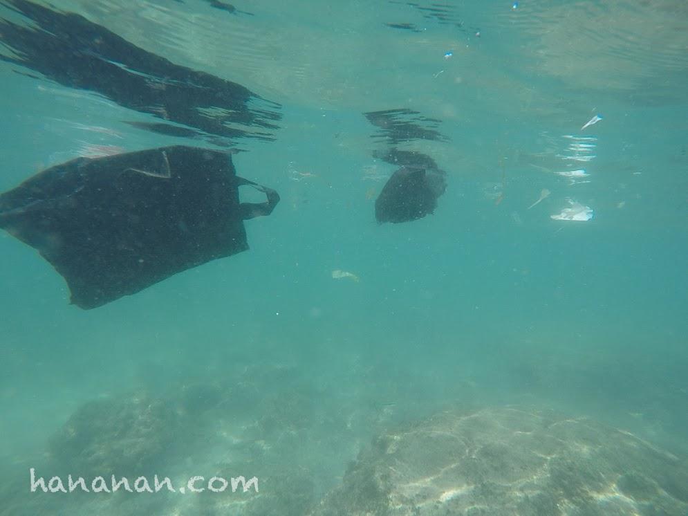 Berenang bersama sampah-sampah kiriman di perairan Pulau Rambut.