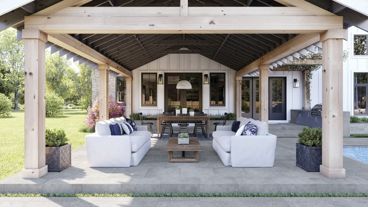 Concrete-look porcelain tile in an outdoor seating area