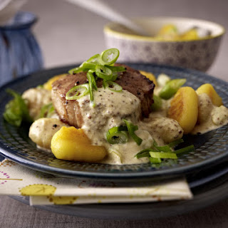 Pork Tenderloin with Gnocchi and Mustard Sauce.