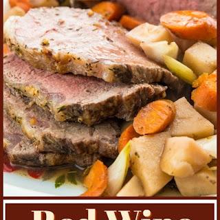 Slow Cooker Red Wine Striploin Roast Beef.