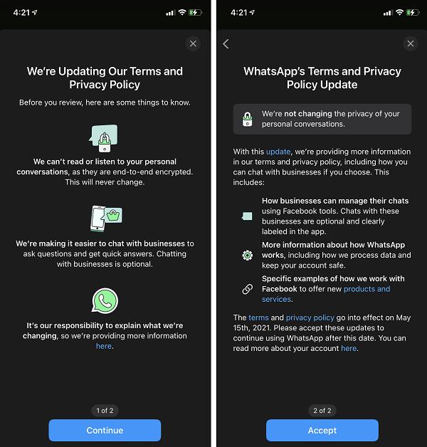 Atualização de privacidade do WhatsApp