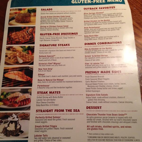 GF menu @ Madison outback