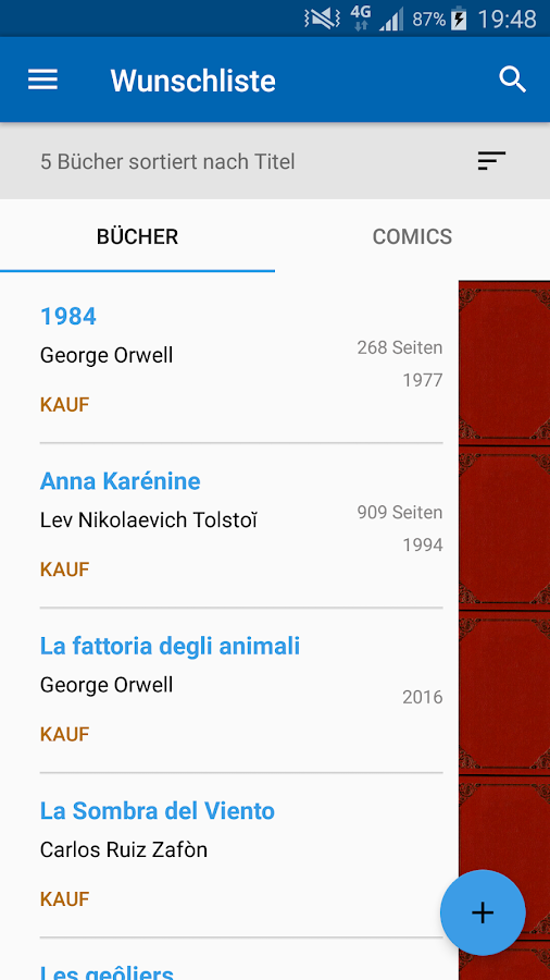 Meine Bibliothek – Screenshot