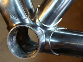 Photo: Bottom bracket, after some quality time with files and emery.  The down tube and chainstays are stainless, so they are finished with 320 grit to avoid leaving deep scratches in the polish.