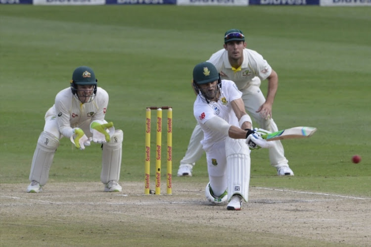 Faf du Plessis of the Proteas during day 3 of the 4th Sunfoil Test match between South Africa and Australia at Bidvest Wanderers Stadium on April 01, 2018 in Johannesburg, South Africa.