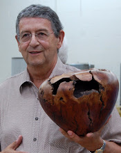 Photo: Jerry Kaplan with is large manzanita burl hollow form.