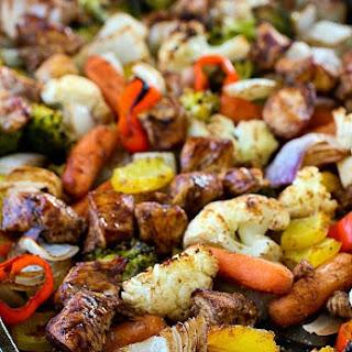 Sheet Pan Spicy Balsamic Roasted Chicken & Veggies.