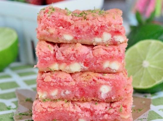 Strawberry Lime White Chocolate Gooey Bars Recipe