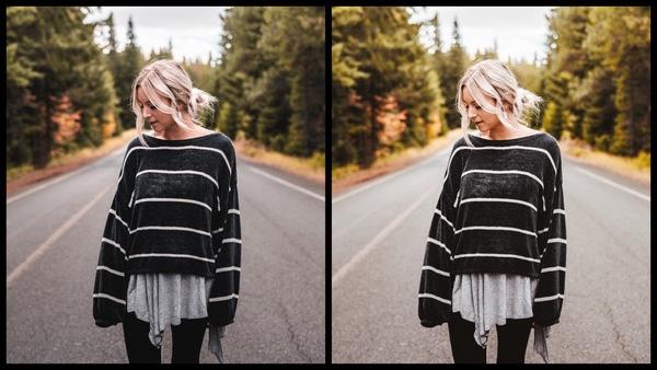 Tutorial de edição de uma mulher posando no meio da estrada usando o filtro Tangy do AirBrush