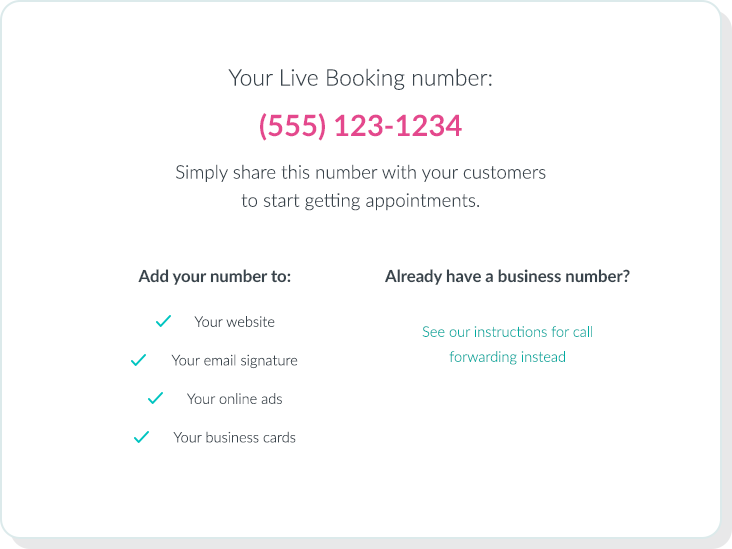 "Live booking ""Your Number"" menu"