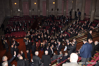 Photo: Grand Masters and Secretary's gather in the Theater of the GWMM