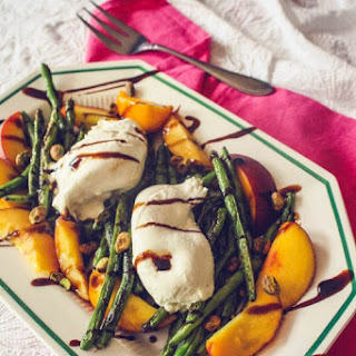 Charred Green Beans with Burrata and Peaches Recipe