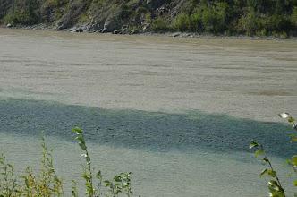 Photo: Das klare Wasser des Klondike River mischt sich mit der milchigen Brühe des yukon