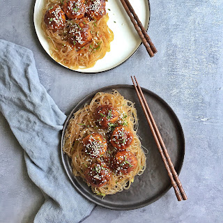 Korean-Style Pork Meatballs with Stir-fried Noodles