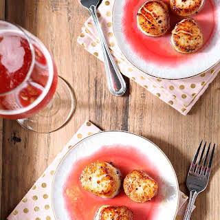 Seared Scallops with Raspberry Gastrique.