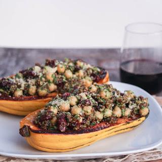Stuffed Delicata Squash with Sage Pesto, Quinoa and Cranberries