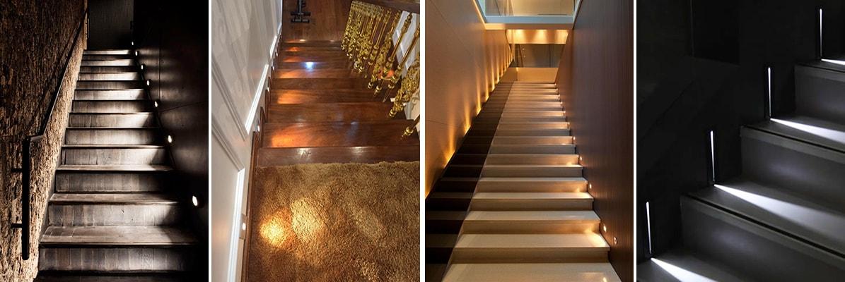 Đèn led chiếu sáng giúp cầu thang thêm sống động