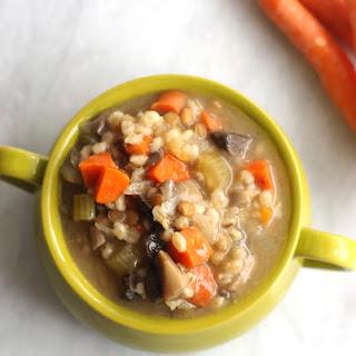 Crockpot Mushroom, Barley, & Lentil Soup.