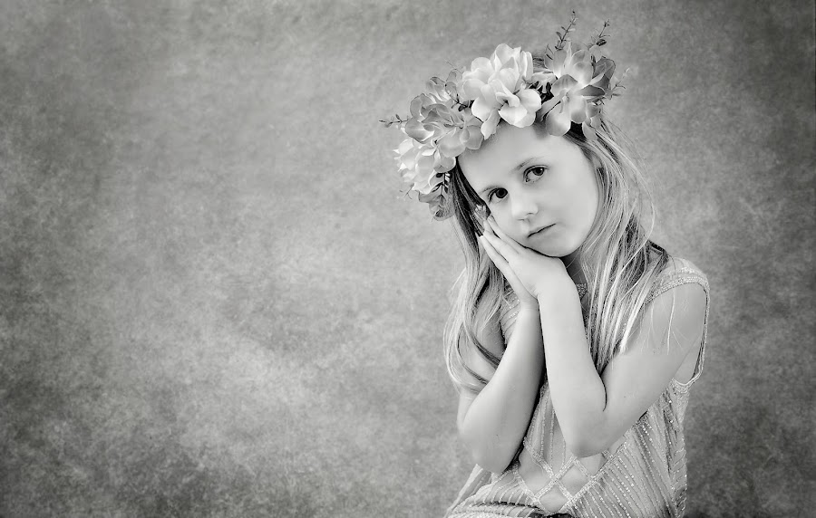Angelic by Love Time - Babies & Children Child Portraits ( child, empty space, girl, black and white, texture, pretty, portrait,  )