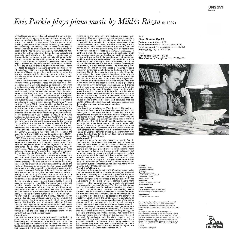 Eric Parkin, Miklós Rózsa