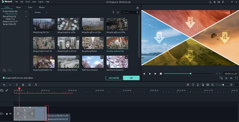ajustar a duração de tela dividida no Filmora9