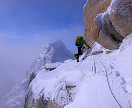 Photo: Close to the summit of the Citadel during the first ascent of the 'Zypa Zypa Couloir'