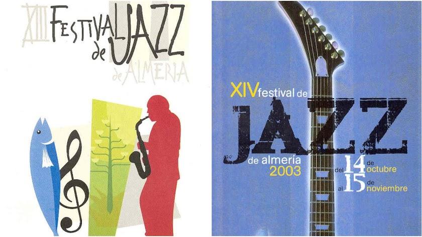 Carteles de los festivales de jazz de los años 2002 y 2003.