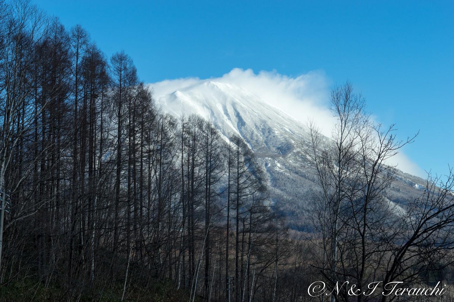 ほんのりと雪化粧をした優美な羊蹄山