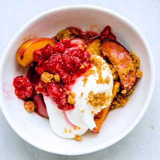 Peach Parfait with Salted Graham Cracker Crumble