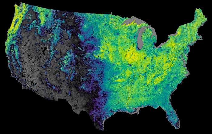 Descartes Labs - Modis NDVI (normalized difference vegetation index) over the 2014 growing season in the United States.