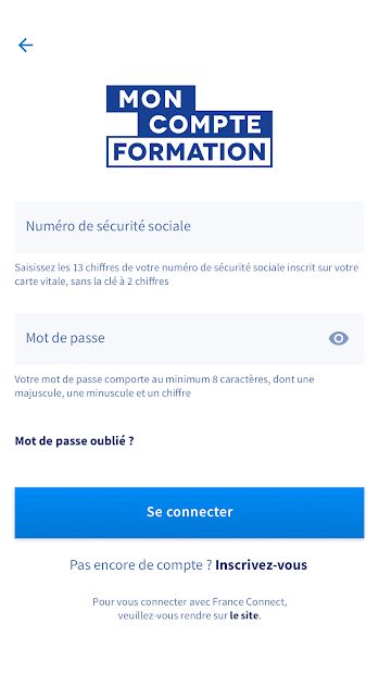 Mon compte formation Android App Screenshot