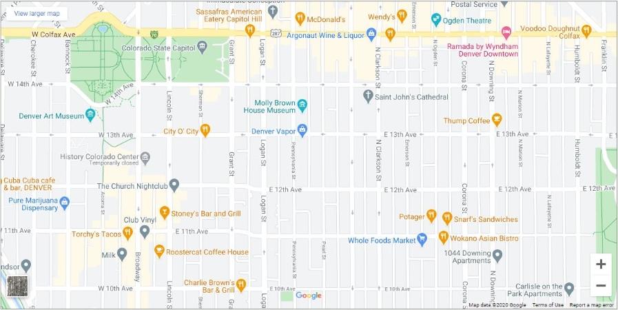 map of Denver's Capitol Hill neighborhood