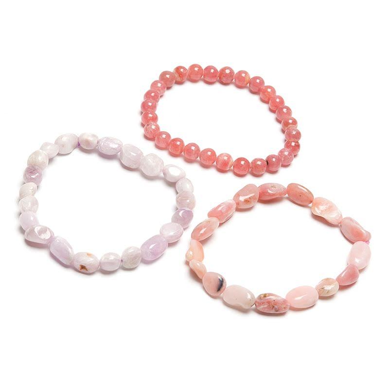 Kunzit, Opal rosa och Rodokrosit