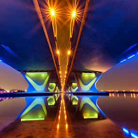 by Ricky Pagador - Buildings & Architecture Bridges & Suspended Structures ( night, bridge, symmetry, bridges, light )