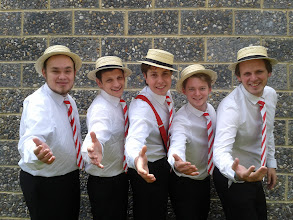 Photo: The gentlemen of Close Shave getting in the mood for their lunchtime performance on day five of Summer Music Week.