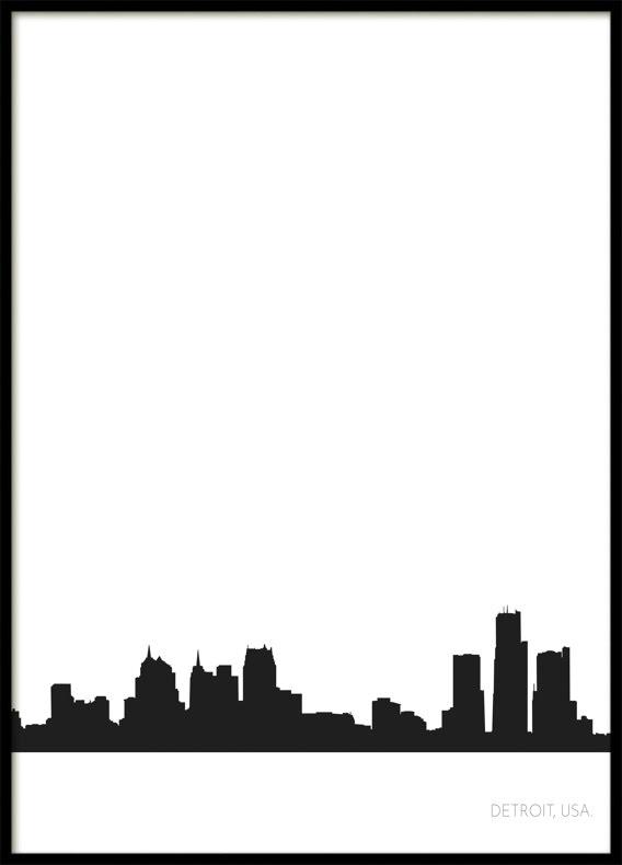 Detroit City Skyline, Poster