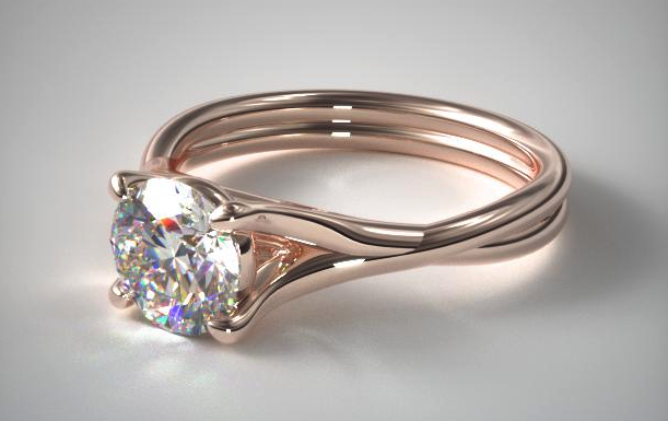14K Rose Gold Twisted Shank Solitaire from James Allen