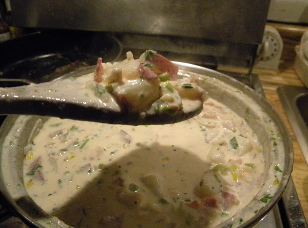 Heat SLOWLY over LOW heat  until potatoes are tender. Add in instant potato...
