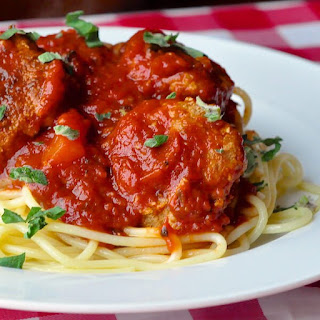 Low Fat Smoky Barbecue Turkey Spaghetti and Meatballs.