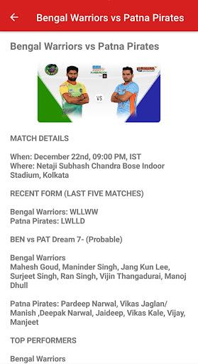 Dream11 Big Bash Cricket Predictions & Pro Kabaddi 1.3 screenshots 4