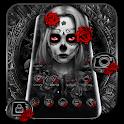 Black Red Rose Lady Skull Theme icon